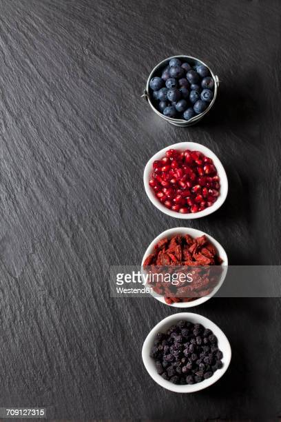 Bowls of blueberries, pomegranate seed, goji berries and chokeberries on slate