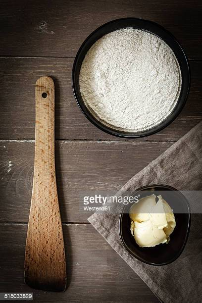 Bowls of buckwheat flour and butter, elevated view