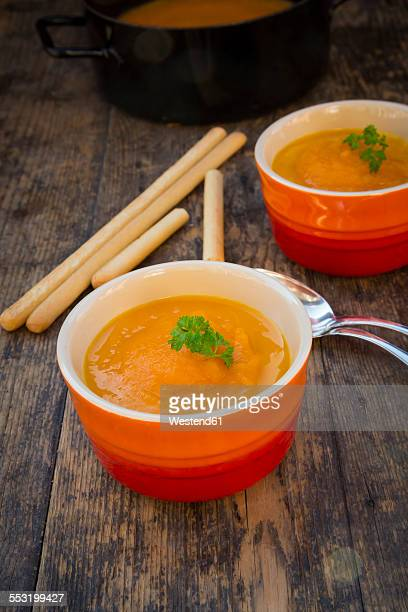 Bowls of carrot soup