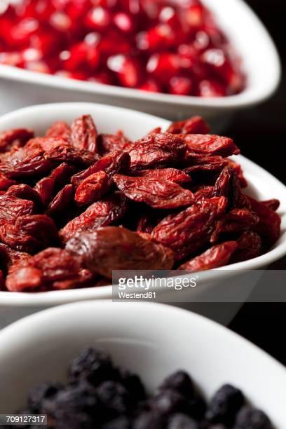 Bowls of goji berries, close-up