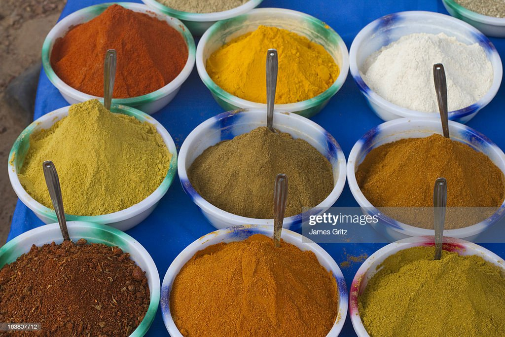 Bowls of Indian spices : Stock Photo