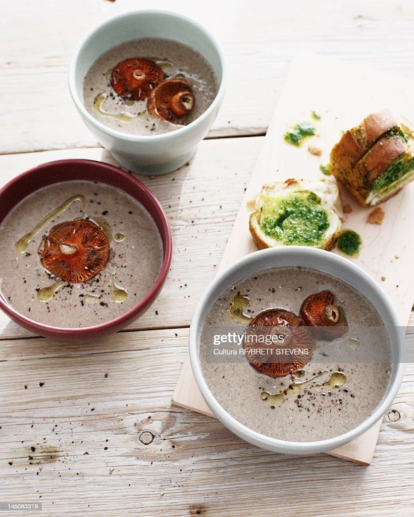 Bowls of mushroom soup : Stock Photo
