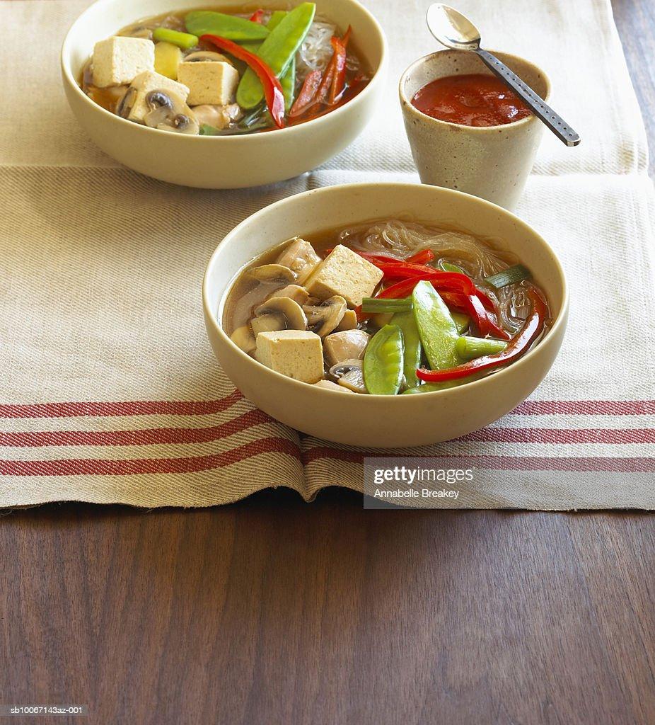 Bowls of tofu soup : Stock Photo