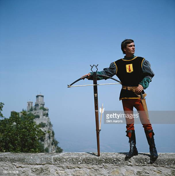 Bowman Giuseppe FranchiniTassini a member of the Balestrieri leaning on his crossbow in San Marino 1982 The Balestrieri are the oldest type of...