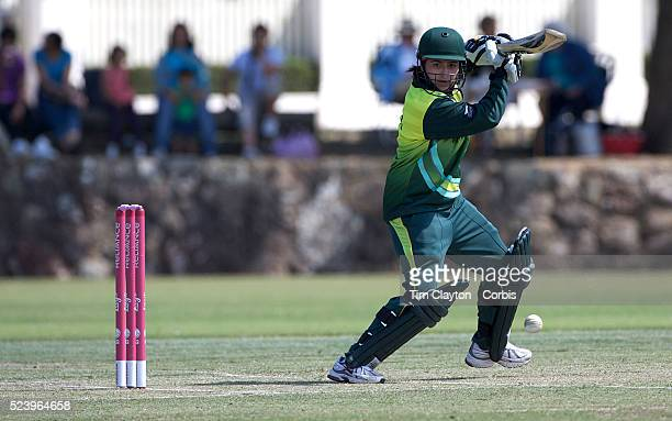 Pakistan batsman Sana Mir in action as Indian and Pakistan compete in the first match of group B of the ICC Women's World Cup Cricket at the...