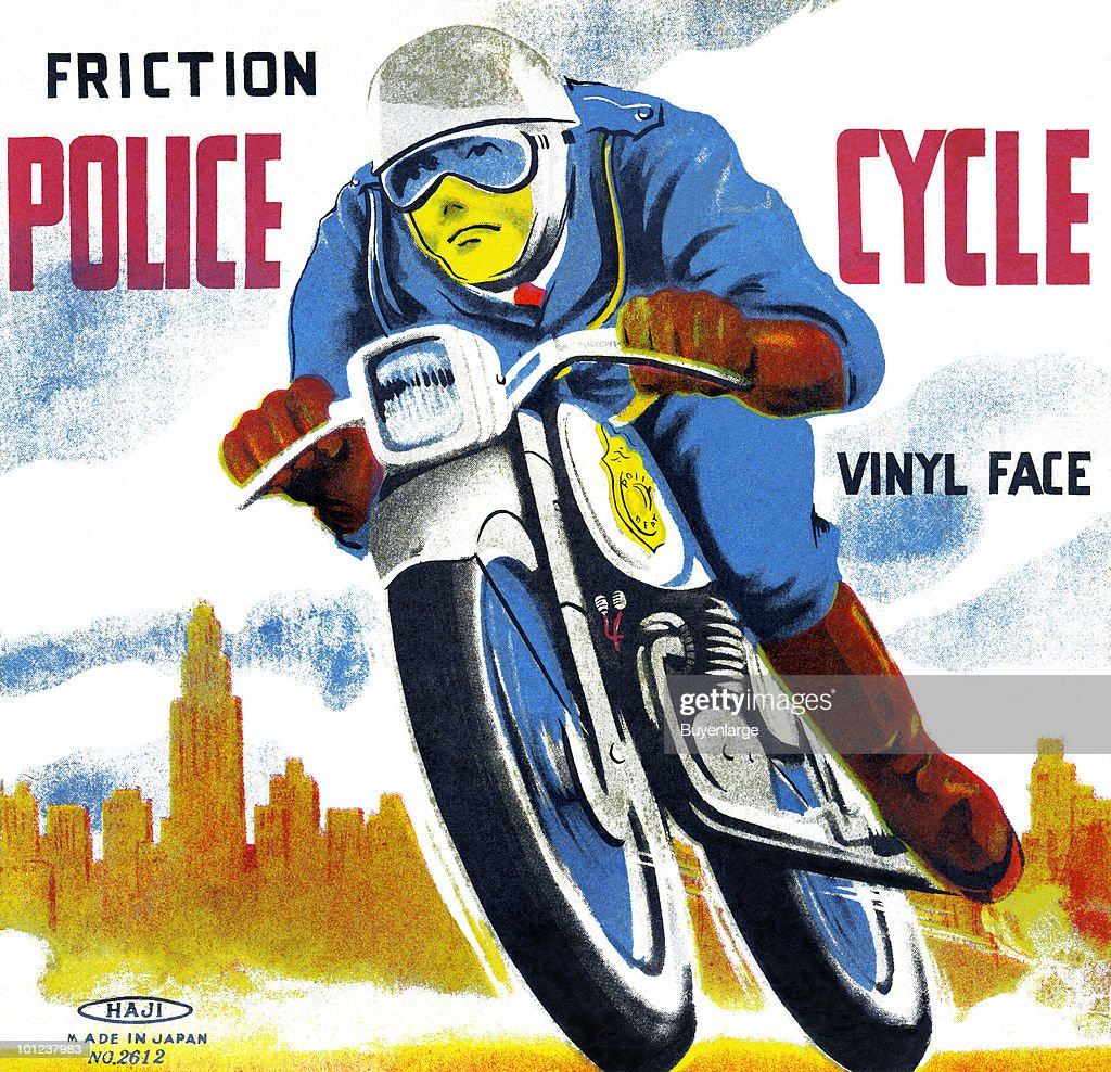 Box art for a tin toy police officer (with 'vinyl face') on a motorcycle.