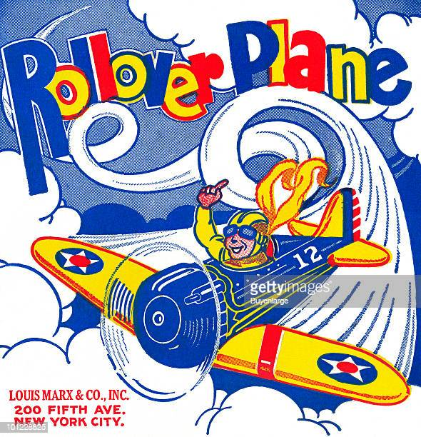Box art from a tin toy airplane
