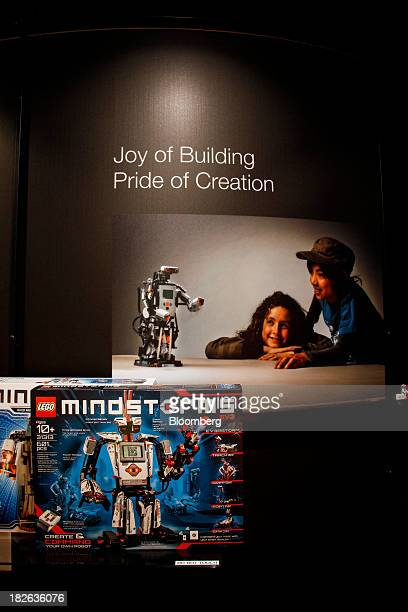 A box containing the latest generation of Lego Mindstorm robots stands on display in the showroom at the headquarters of Lego A/S in Billund Denmark...