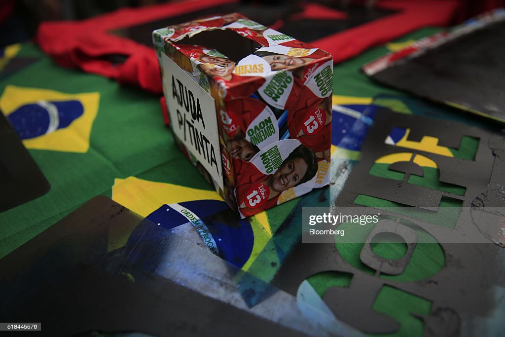 A box decorated for donation is decorated with stickers of of Dilma Rousseff Brazil's president during a demonstration in Rio de Janeiro Brazil on...