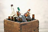 A box full of bottles of beer and liquor, Sweden.