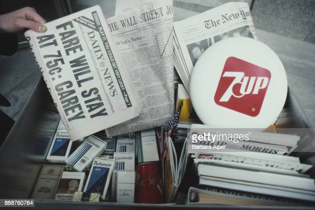A box full of cigarettes newspapers and magazines New York City US October 1982