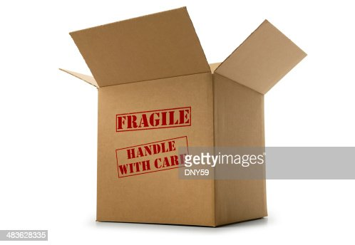 Box labeled fragile and handle with care on white background