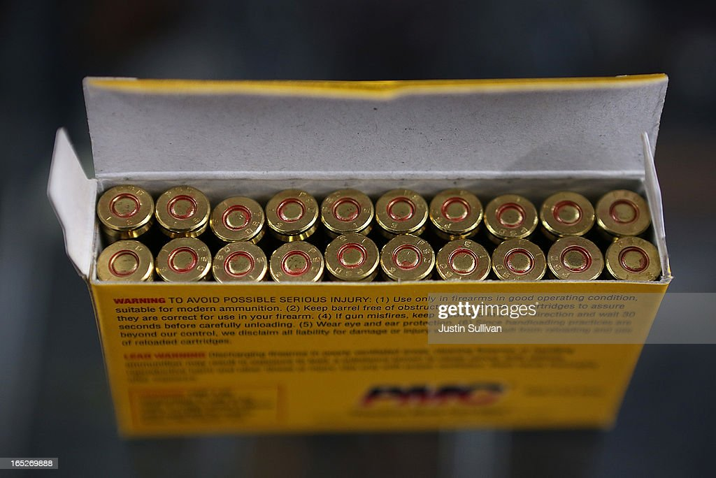 A box of .223 rifle ammuntion sits on the counter at Sportsmans Arms on April 2, 2013 in Petaluma, California. In the wake of the Newtown, Connecticut school massacare, California State lawmakers are introducing several bills that propose taxing and regulating sales of ammunition. Another bill is aimed to require a background check and annual permit fee to purchase any ammunition.