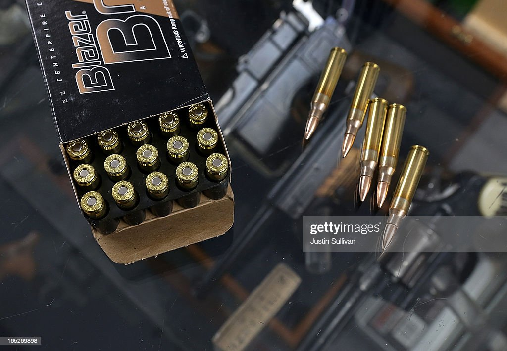 A box of 9mm bullets and .223 rifle ammuntion sit on the counter at Sportsmans Arms on April 2, 2013 in Petaluma, California. In the wake of the Newtown, Connecticut school massacare, California State lawmakers are introducing several bills that propose taxing and regulating sales of ammunition. Another bill is aimed to require a background check and annual permit fee to purchase any ammunition.