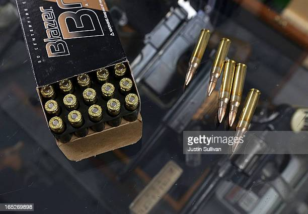 A box of 9mm bullets and 223 rifle ammuntion sit on the counter at Sportsmans Arms on April 2 2013 in Petaluma California In the wake of the Newtown...
