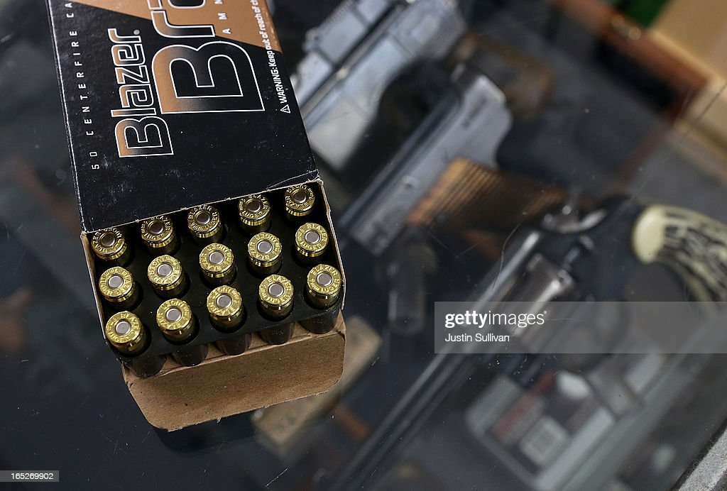 A box of 9mm bullets sits on the counter at Sportsmans Arms on April 2, 2013 in Petaluma, California. In the wake of the Newtown, Connecticut school massacare, California State lawmakers are introducing several bills that propose taxing and regulating sales of ammunition. Another bill is aimed to require a background check and annual permit fee to purchase any ammunition.