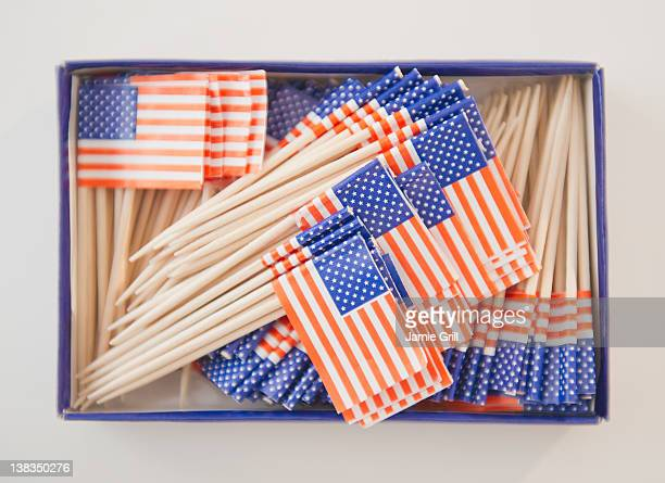 Box of American flags toothpicks