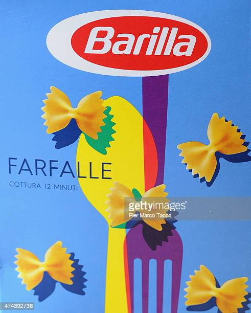 A box of Barilla pasta with the new packaging is displayed during the Barilla Group press conferenceon May 22 2015 in Milan Italy Barilla is a...
