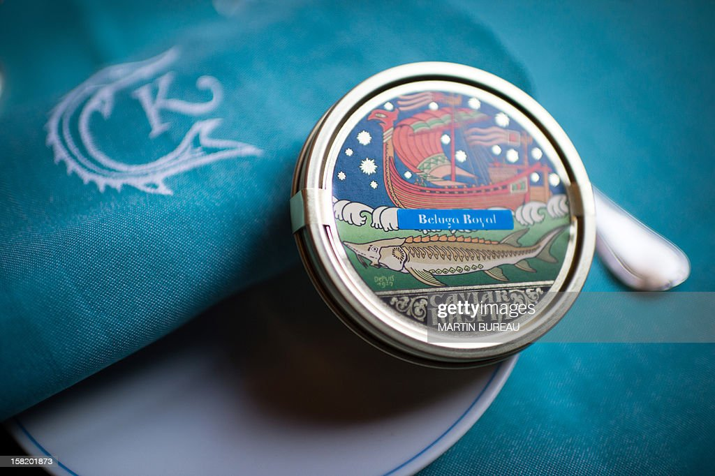 A box of caviar (royal beluga) is displayed in a plate at the shop of Kaspia Caviar, on December 11, 2012 in Paris.