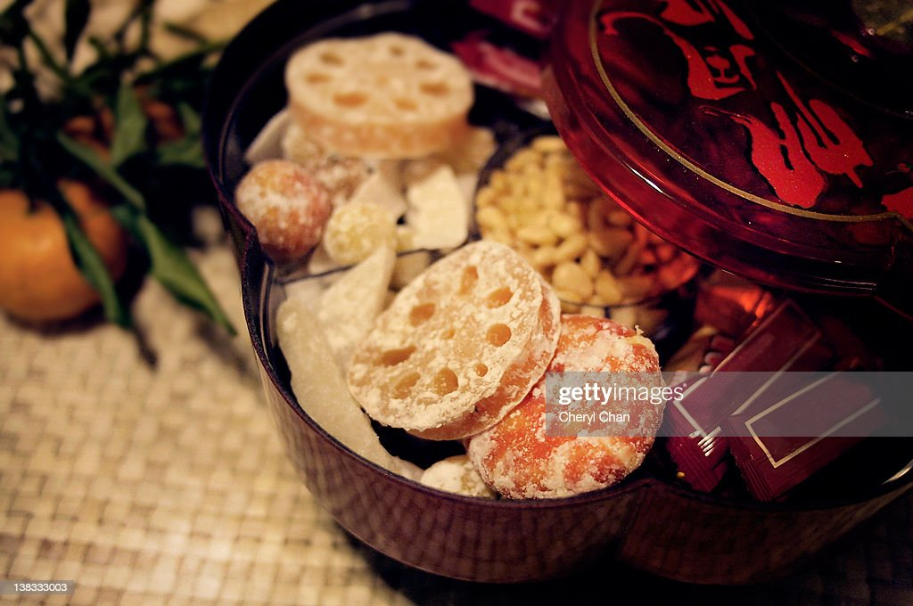 Box of Chinese new year treats : Stock Photo