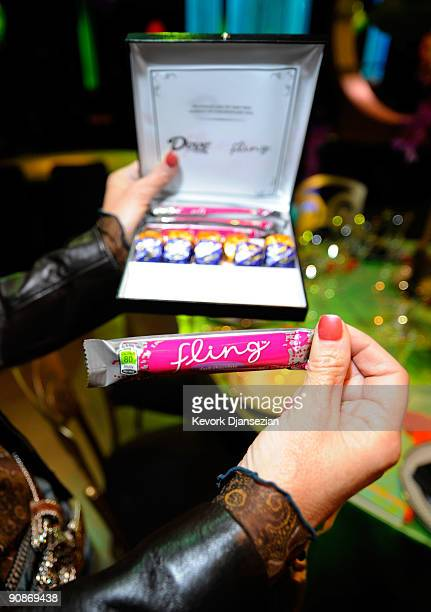 A box of chocolate from Dove as a parting gift for the Governors Ball is seen inside the Los Angeles Convention Center in preperation for the 61st...