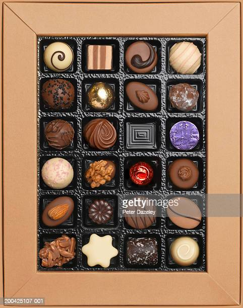 Box of chocolates, one missing, overhead view
