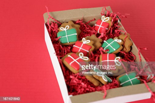 Box of handmade cookies : Stock Photo