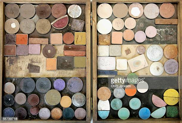 A box of makeup powder is seen backstage before the Jean Muir fashion show as part of London Fashion Week Spring/Summer 2006 at the Royal Academy of...
