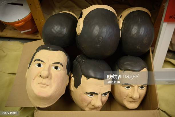 A box of masks of former Chancellor of the Exchequer George Osborne is seen in the store room at Oxfam's headquarters on October 4 2017 in London...