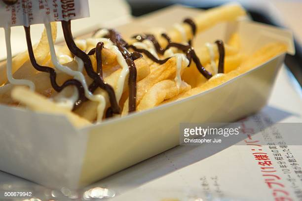 A box of McChoco Potato is pictured on January 25 2016 in Tokyo Japan The McChoco Potato McDonald's Japan's special winter menu french fries covered...