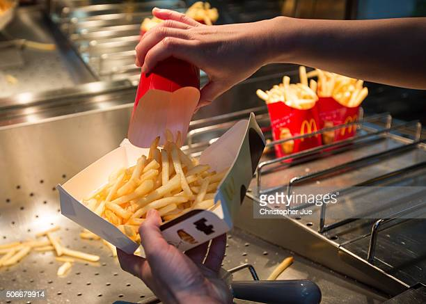A box of McChoco Potato is seen being prepared in the kitchen on January 25 2016 in Tokyo Japan The McChoco Potato McDonald's Japan's special winter...