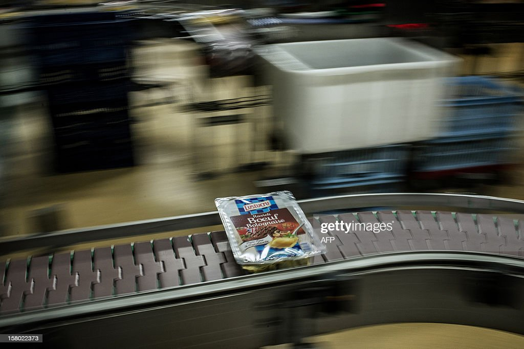 A box of raviolis is seen on November 21, 2012 on the production line of French pasta manufacturer Lustucru at the Saint-Genis Laval plant.