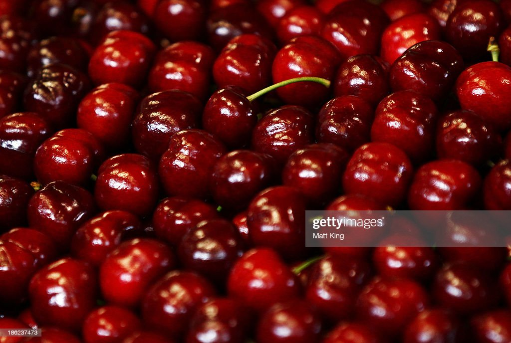 A box of the winning bid cherries are shown at the 2013 Sydney Markets cherry auction on October 30 2013 in Sydney Australia The annual auction...