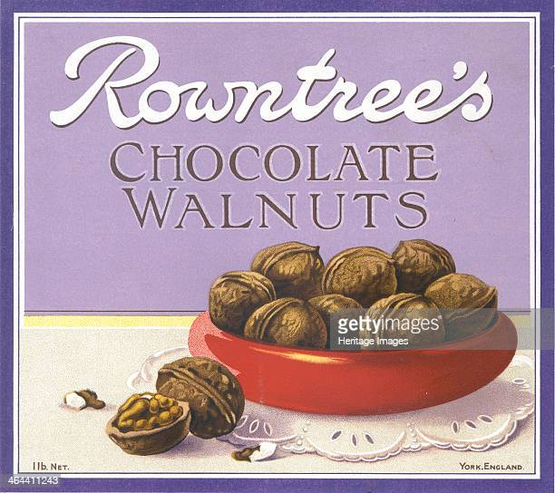 Box top for Rowntree's Chocolate Walnuts 1910s