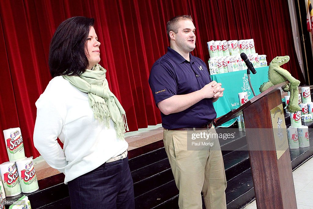 Box Tops Coordinator Jenn Stump and Scott Brand Manager Ben Johnson speak to students at a school assembly to celebrate the Scott Shared Values Sweepstakes award of $25,000 to Youth's Benefit Elementary School on March 28, 2013 in Fallston, Maryland.