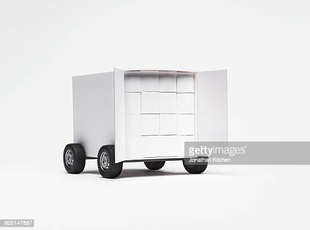 A box truck with boxes in it