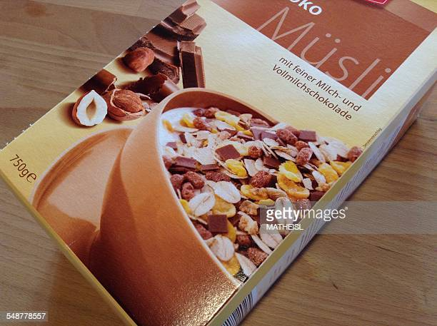 Box with Muesli cereal and Chocolate for breakfast Germany Europe