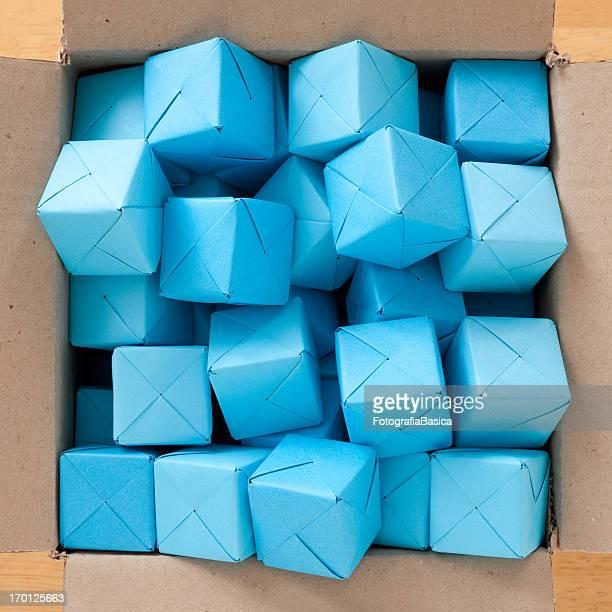 Boxed blue cubes