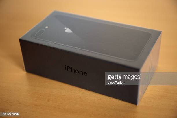 A boxed iPhone 8 plus is pictured on its launch day on September 22 2017 in London England Apple have today launched their new mobile phone the...