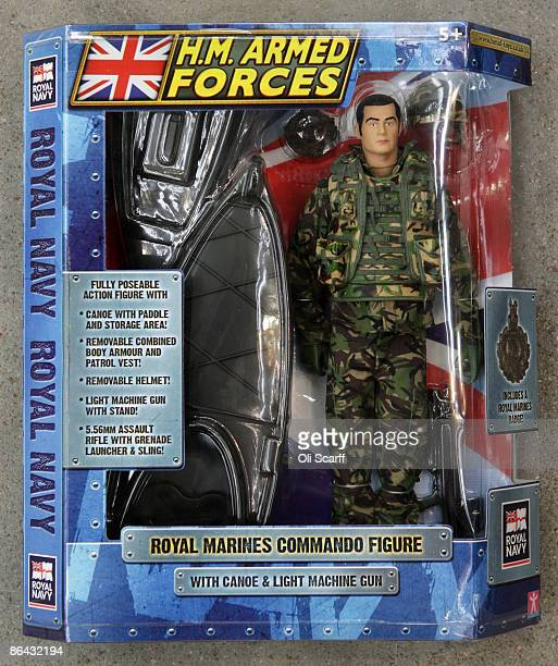 A boxed Royal Marine Commando 'HM Armed Forces' action figure at the launch of the new toys at RAF Northolt on May 6 2009 in London England The new...