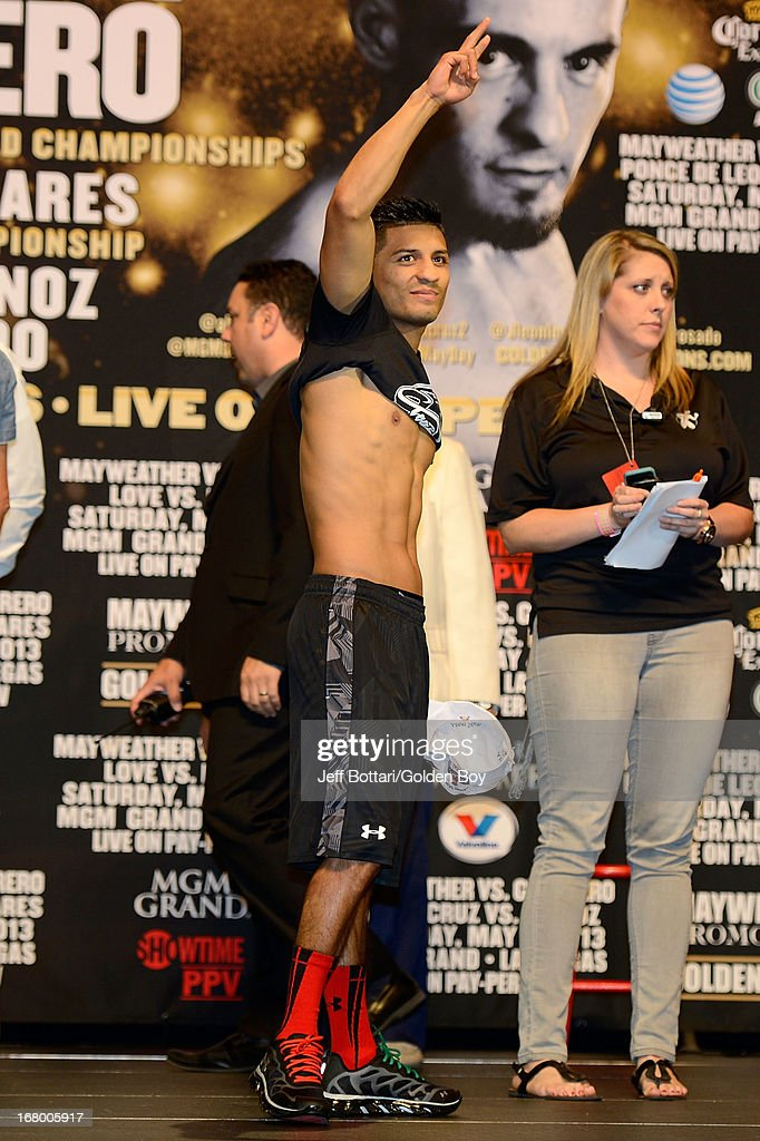 Boxer Abner Mares poses during the official weigh-in for his fight against Daniel Ponce De Leon for the WBC featherweight title at the MGM Grand Garden Arena on May 3, 2013 in Las Vegas, Nevada.