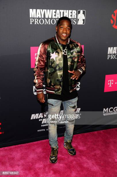 Boxer Adrien Broner attends the VIP party before the boxing match between boxer Floyd Mayweather Jr and Conor McGregor at TMobile Arena on August 26...