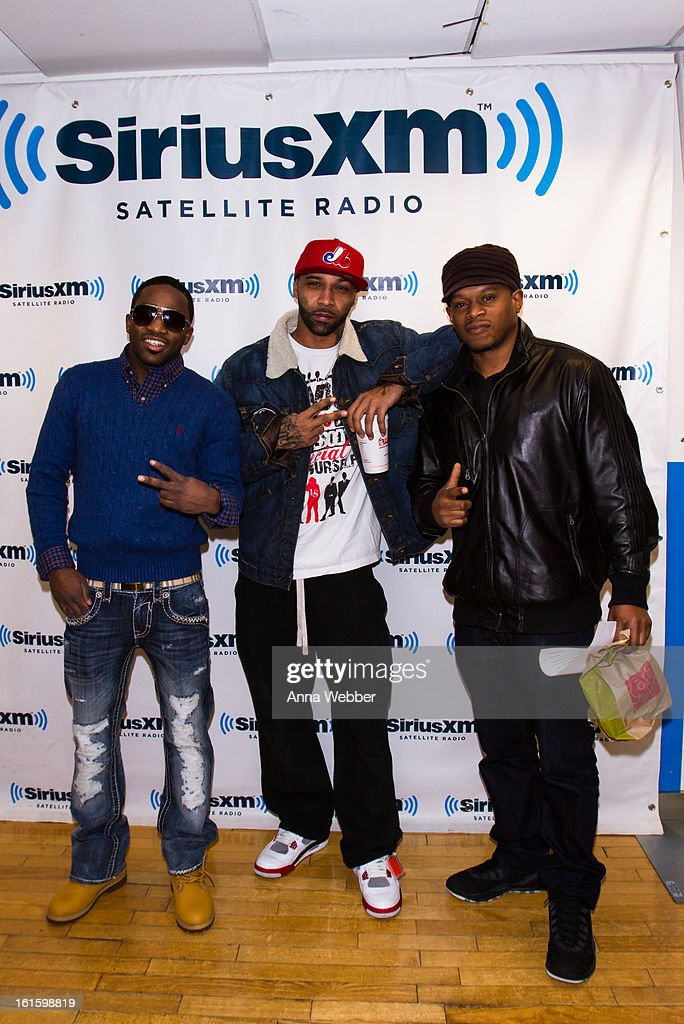 Boxer Adrien Broner, Hip-Hop artist Joe Budden, and SiriusXM host <a gi-track='captionPersonalityLinkClicked' href=/galleries/search?phrase=Sway&family=editorial&specificpeople=214641 ng-click='$event.stopPropagation()'>Sway</a> Calloway visit SiriusXM Studios on February 12, 2013 in New York City.