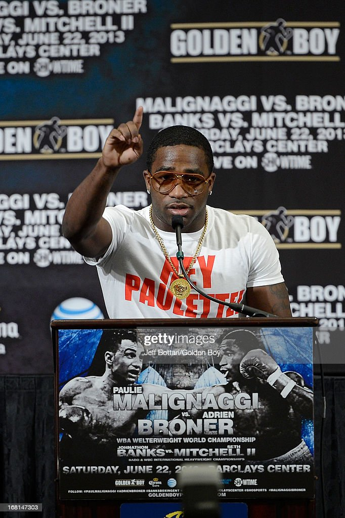 Boxer Adrien Broner talks to the media about his upcoming fight with Paulie Malignaggi during his news conference before the Floyd Mayweather Jr. and Robert Guerrero fight at the MGM Grand Garden Arena on May 4, 2013 in Las Vegas, Nevada.