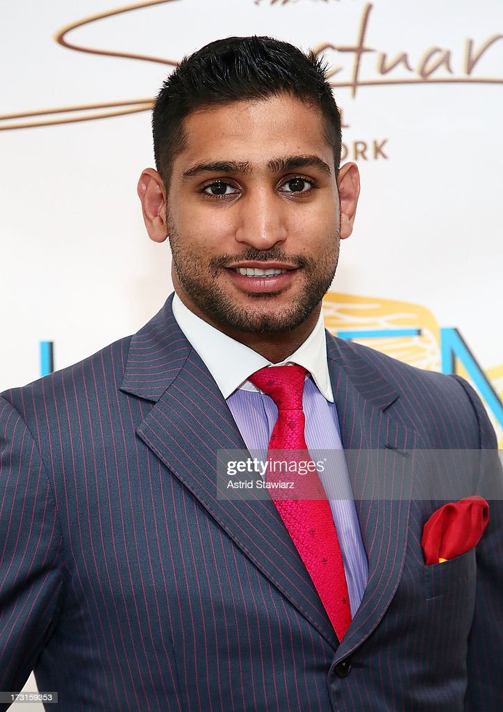 Boxer <a gi-track='captionPersonalityLinkClicked' href=/galleries/search?phrase=Amir+Khan+-+Boxeur&family=editorial&specificpeople=162795 ng-click='$event.stopPropagation()'>Amir Khan</a> attends <a gi-track='captionPersonalityLinkClicked' href=/galleries/search?phrase=Amir+Khan+-+Boxeur&family=editorial&specificpeople=162795 ng-click='$event.stopPropagation()'>Amir Khan</a> & Faryal Makhdoom's Welcome To New York Party at Haven Rooftop at Sanctuary Hotel on July 8, 2013 in New York City.