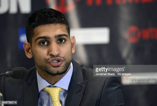 Boxer Amir Khan during the press conference at The Mayfair Hotel London