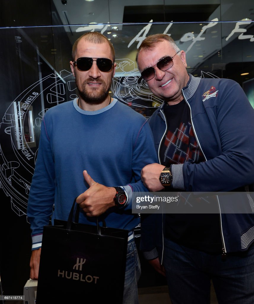 Boxer and Hublot ambassador Sergey Kovalev (L) and boxing trainer Egis Klimas visit the Hublot Boutique at The Forum Shops at Caesars on June 18, 2017 in Las Vegas, Nevada.