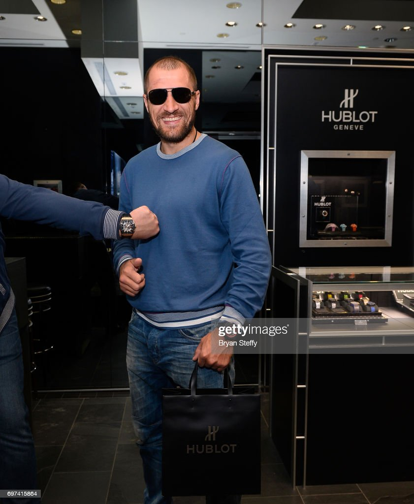 Boxer and Hublot ambassador Sergey Kovalev visits the Hublot Boutique at The Forum Shops at Caesars on June 18, 2017 in Las Vegas, Nevada.