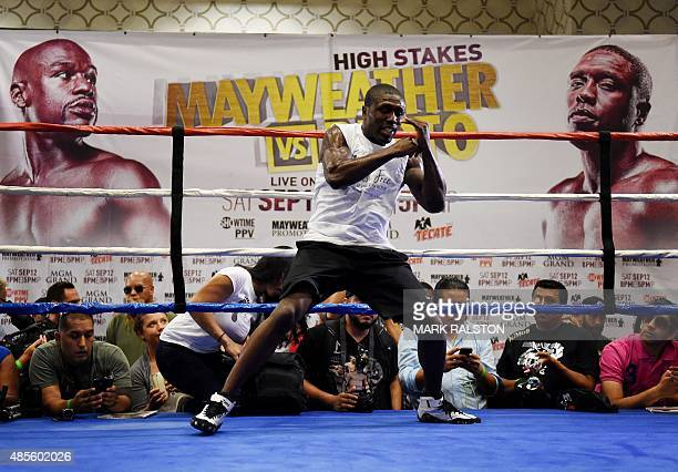 Boxer Andre Berto trains before his September 12 fight against Floyd 'Money' Mayweather that will place at the MGM Grand Garden Arena in Las Vegas at...