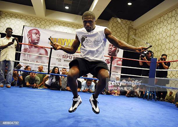 Boxer Andre Berto uses a jump rope during a workout at the Marriott Hotel in Los Angeles California on August 28 before his September 12 fight...